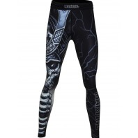 Компрессионные штаны Athletic pro. Samurai Skull Black MSP-132