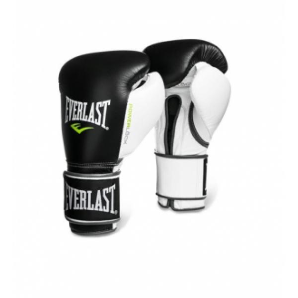 Перчатки боксерские Everlast  Powerlock Черно-Бело-Зеленые