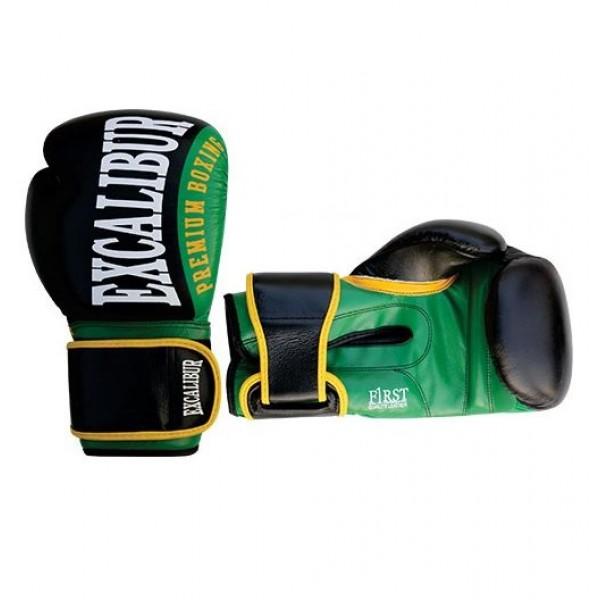 Перчатки боксерские Excalibur 8019-01 Black/Green PU<br>Вес кг: 1000.00000000;