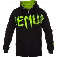 Толстовка Venum Undisputed Hoody Black - Neo Yellow Logo