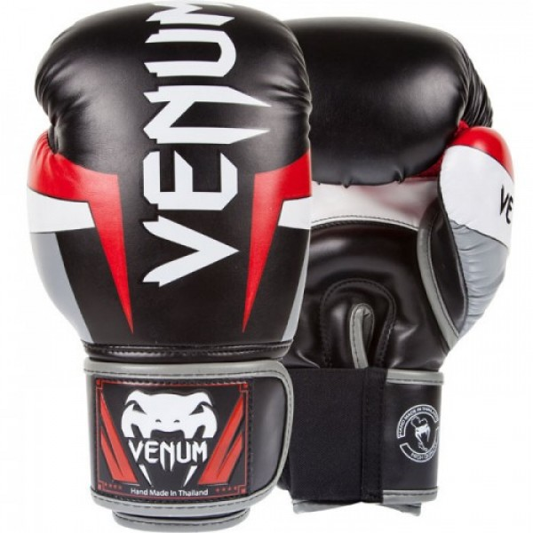 Перчатки боксерские Venum Elite Black/Red/Grey