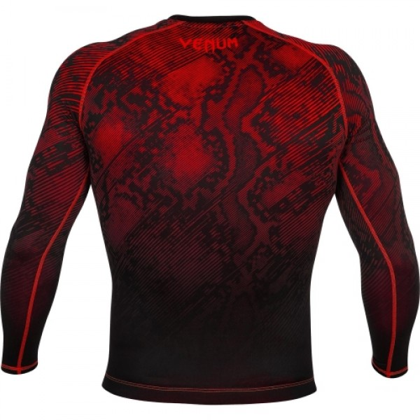 Компрессионная футболка Venum Fusion Compression T-shirt - Black Red Long Sleeves