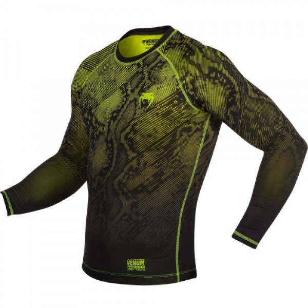 Компрессионная футболка Venum Fusion Compression T-shirt - Black Yellow Long Sleeves