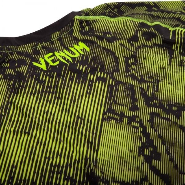 Компрессионная футболка Venum Fusion Compression T-shirt - Black Yellow Long Sleeves