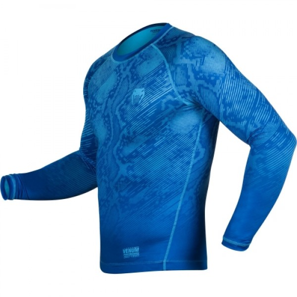 Компрессионная футболка Venum Fusion Compression T-shirt - Blue Long Sleeves