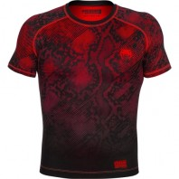 Компрессионная футболка Venum Fusion Compression T-shirt - Black Red Short Sleeves