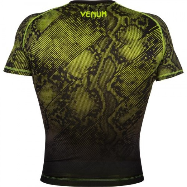 Компрессионная футболка Venum Fusion Compression T-shirt - Black Yellow Short Sleeves