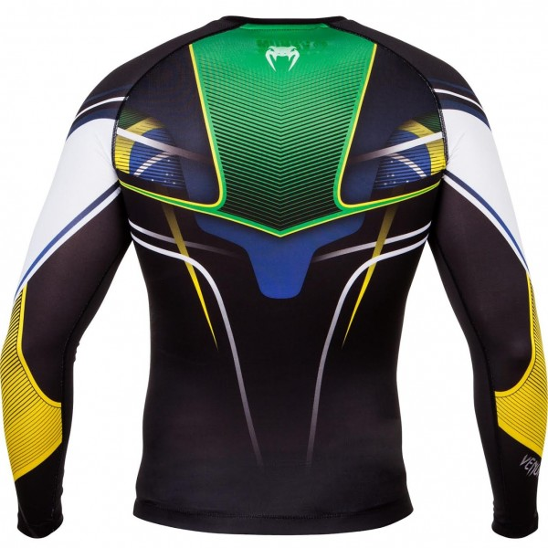 Компрессионная футболка Venum Brazilian Hero Compression T-Shirt - Black/Yellow/Green - Long Sleeves