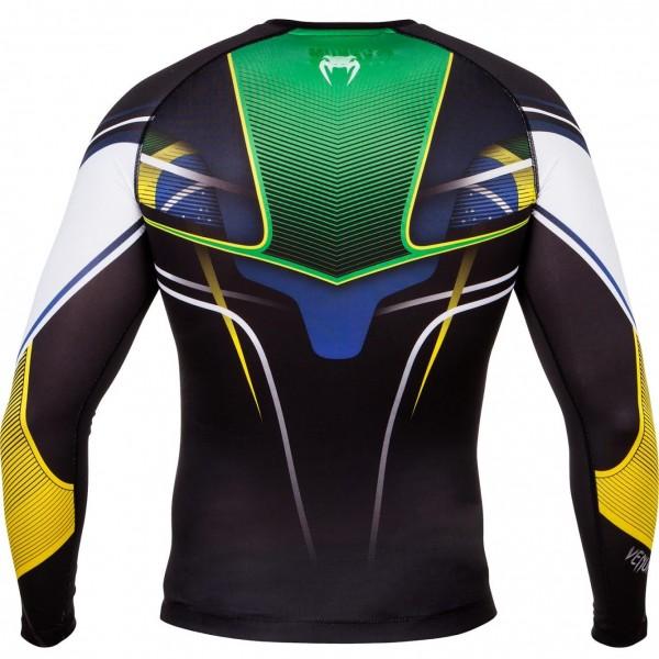 Компрессионная футболка Venum Brazilian Hero Compression T-Shirt - Black/Yellow/Green - Long Sleeves