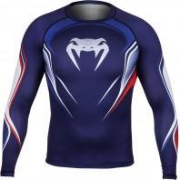 Компрессионная футболка Venum French Hero Compression T-Shirt - Blue/Ice/Red - Long Sleeves