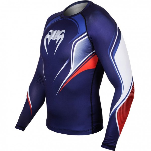 Компрессионная футболка Venum French Hero Compression T-Shirt - Blue/Ice/Red - Long Sleeves