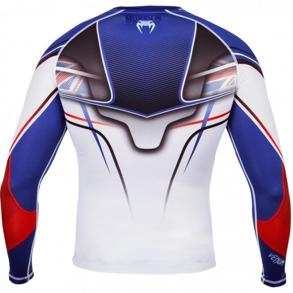 Компрессионная футболка Venum UK Hero Compression T-Shirt - Ice/Blue/Red - Long Sleeves