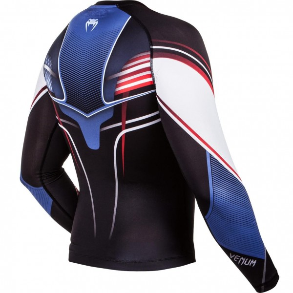 Компрессионная футболка Venum USA Hero Compression T-Shirt - Black/Blue/Red - Long Sleeves