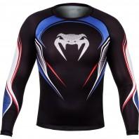Компрессионная футболка Venum USA Hero Compression T-Shirt - Black/Blue/Red - Long Sleeves