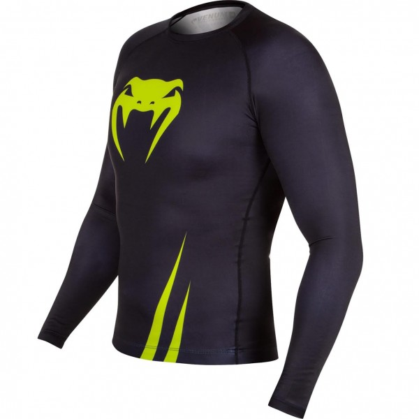 Рашгард Venum Challenger Rashguard - Long Sleeves Black/Neo Yellow