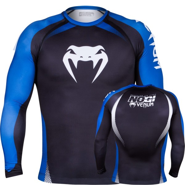 Рашгард Venum No Gi Rash Guard IBJJF Approved - Long Sleeves - Black/Blue