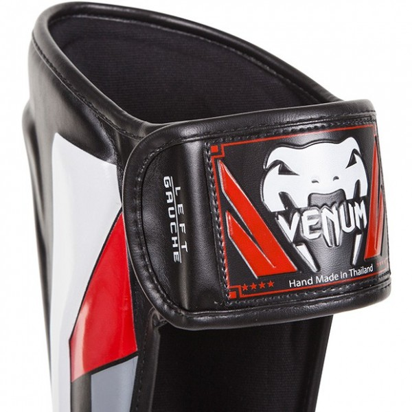 Щитки Venum Elite - Black/Red/Grey