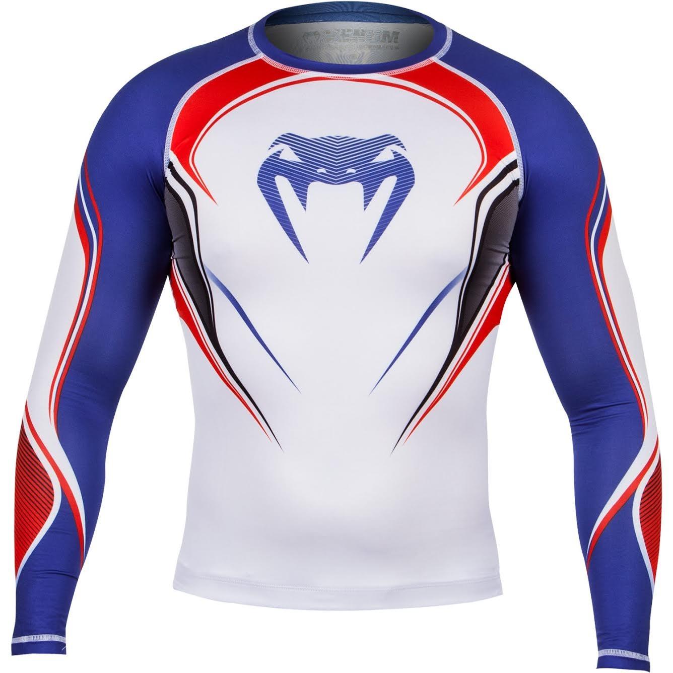 Компрессионная футболка Venum UK Hero Compression T-Shirt - Ice/Blue/Red - Long Sleeves<br>Вес кг: 0.00000000;